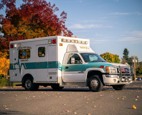 A 2007 GMC Duramax Ambulance